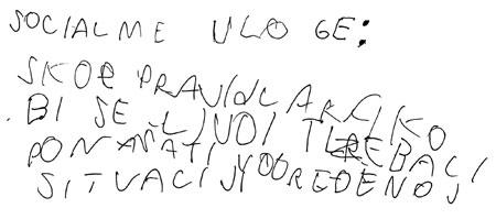 dječak, 5.razred, teškoće u oblikovanju, pravilnosti i organiziranosti slova i rukopisa