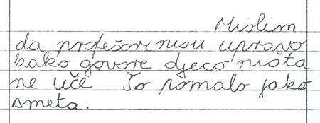 dječak, 7.razred, slobodni sastavak, primjer pojmovne teškoće